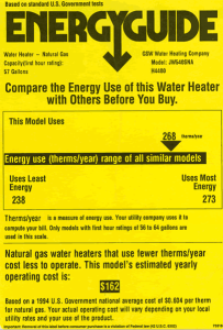 Sample Energy Guide Label for a Hot Water Heater
