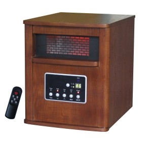 Global Air GD9315BCW-5 Large Room Infrared Quartz Heater with Wood Cabinet and Remote Control