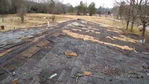 Shingles removed from the roof