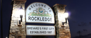 Rockledge, FL sign at night